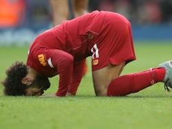 Mohamed Salah celebrates opening the scoring for Liverpool against Watford on December 14, 2019