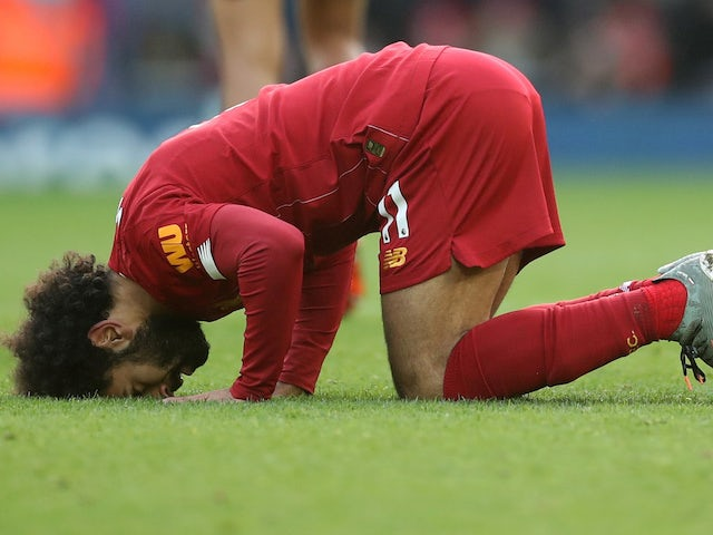 Mohamed Salah celebrates opening the scoring for Liverpool against Watford on December 14, 2019