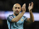 Pablo Zabaleta pictured for Manchester City in 2017