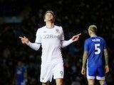 Leeds United's Patrick Bamford celebrates scoring their second goal