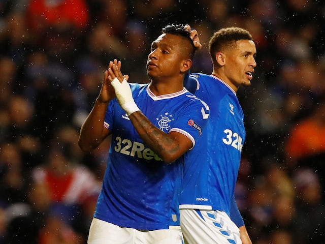 Rangers' Alfredo Morelos celebrates scoring their first goal with James Tavernier on December 12, 2019