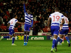 Reading's Lucas Joao celebrates scoring their first goal on December 11, 2019