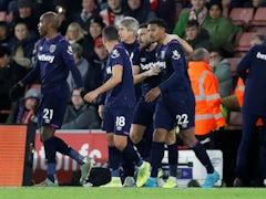 West Ham United's Sebastien Haller celebrates scoring their first goal with teammates on December 14, 2019