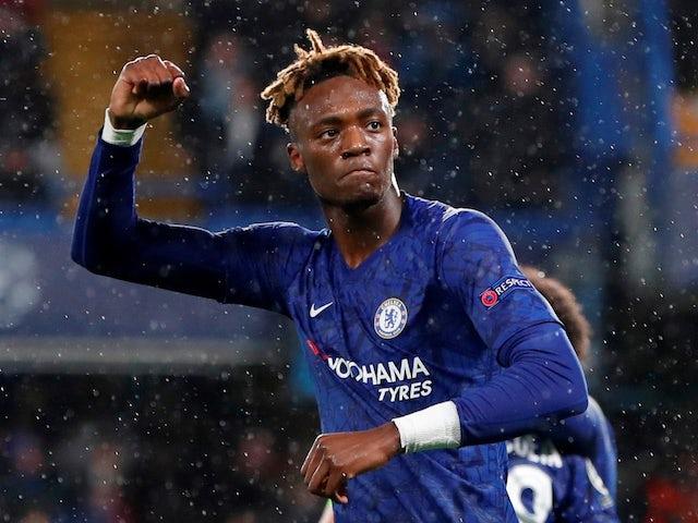 Tammy Abraham celebrates scoring for Chelsea on December 10, 2019