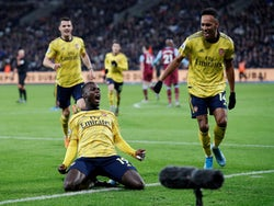 Arsenal's Nicolas Pepe celebrates scoring against West Ham United in the Premier League on December 9, 2019