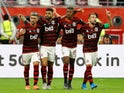 Flamengo's Giorgian de Arrascaeta celebrates scoring their first goal with teammates on December 17, 2019