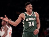 Giannis Antetokounmpo in action for the Bucks on December 21, 2019