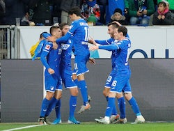 Hoffenheim's Andrej Kramaric celebrates scoring their second goal with teammates on December 20, 2019