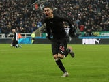 Newcastle United's Miguel Almiron celebrates scoring their first goal on December 21, 2019