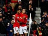 Marcus Rashford celebrates scoring with Mason Greenwood on December 18, 2019