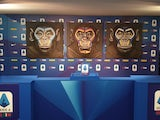 An anti-racism campaign artwork by Italian artist Simone Fugazzotto featuring three side-by-side paintings of apes is presented by Italian soccer league Serie A during a news conference in Milan, Italy, December 16, 2019