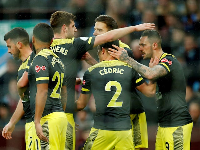 Southampton's Danny Ings celebrates scoring their first goal with teammates on December 21, 2019