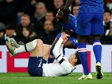 Son Heung-min kicks out at Antonio Rudiger during the Premier League game between Tottenham Hotspur and Chelsea on December 22, 2019.