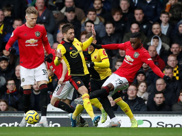 Watford's Kiko Femenia in action with Manchester United's Aaron Wan-Bissaka in the Premier League on December 22, 2019