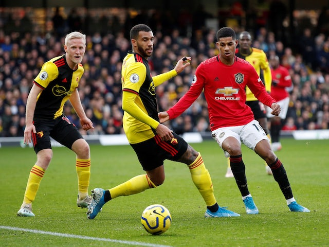 Manchester United's Marcus Rashford in action with Watford's Etienne Capoue in the Premier League on December 22, 2019