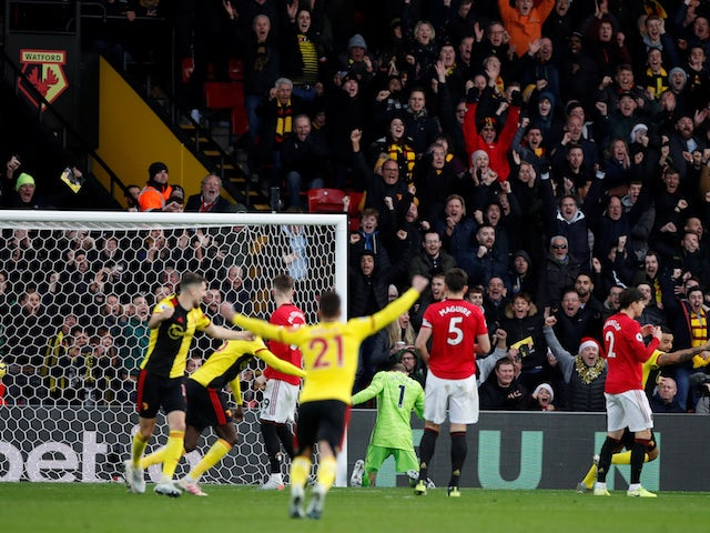 Watford's Ismaila Sarr scores against Manchester United in the Premier League on December 22, 2019