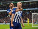 Brighton & Hove Albion's Aaron Mooy celebrates scoring their second goal on December 28, 2019