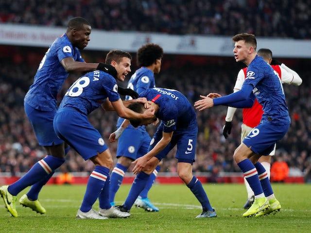 Jorginho celebrates scoring the equaliser with Chelsea teammates on December 29, 2019
