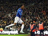 Demarai Gray celebrates scoring for Leicester on December 28, 2019