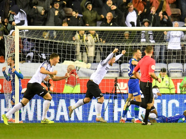 Result: Martyn Waghorn rescues late equaliser for Derby at Wigan