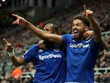 Everton's Dominic Calvert-Lewin celebrates scoring their second goal with Djibril Sidibe on December 28, 2019
