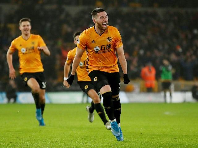 Matt Doherty celebrates scoring for Wolves on December 27, 2019