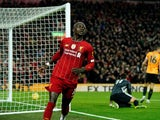 Sadio Mane celebrates scoring for Liverpool on December 29, 2019