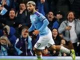 Sergio Aguero celebrates scoring for Manchester City on December 29, 2019