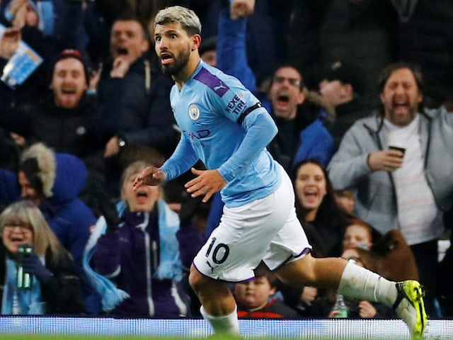 Sergio Aguero celebrates scoring for Manchester City on December 29, 2019