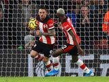 Southampton's Danny Ings celebrates scoring their first goal with Moussa Djenepo on December 28, 2019
