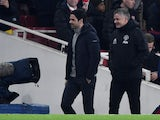 Arsenal boss Mikel Arteta and Manchester United manager Ole Gunnar Solskjaer pictured on January 1, 2020