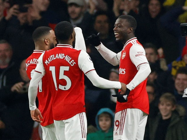Arsenal's Nicolas Pepe celebrates scoring against Manchester United in the Premier League on January 1, 2020