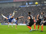 Brighton & Hove Albion's Alireza Jahanbakhsh scores their first goal on January 1, 2020