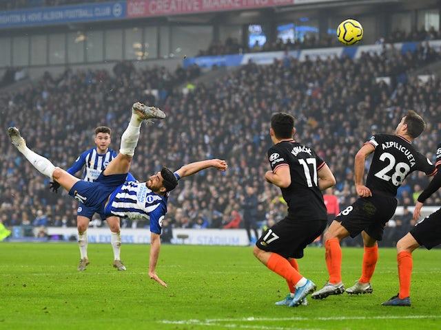 Brighton & Hove Albion's Alireza Jahanbakhsh scores their first goal on January 1, 2020