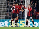 Dominic Solanke celebrates scoring for Bournemouth on January 4, 2020