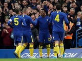 Chelsea's Callum Hudson-Odoi celebrates scoring their first goal with teammates on January 5, 2020