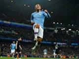 Manchester City's Gabriel Jesus celebrates scoring their second goal on January 1, 2020
