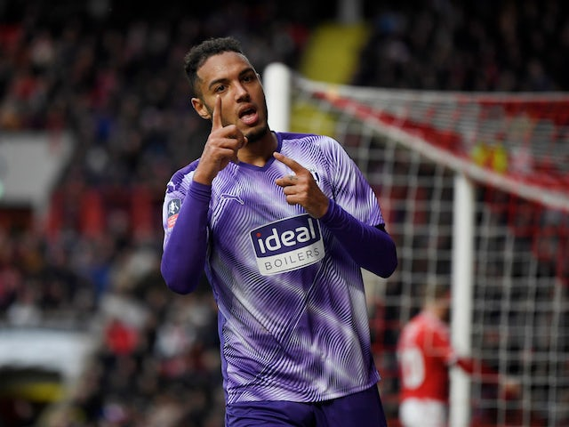 West Bromwich Albion's Kenneth Zohore celebrates scoring their first goal on January 5, 2020