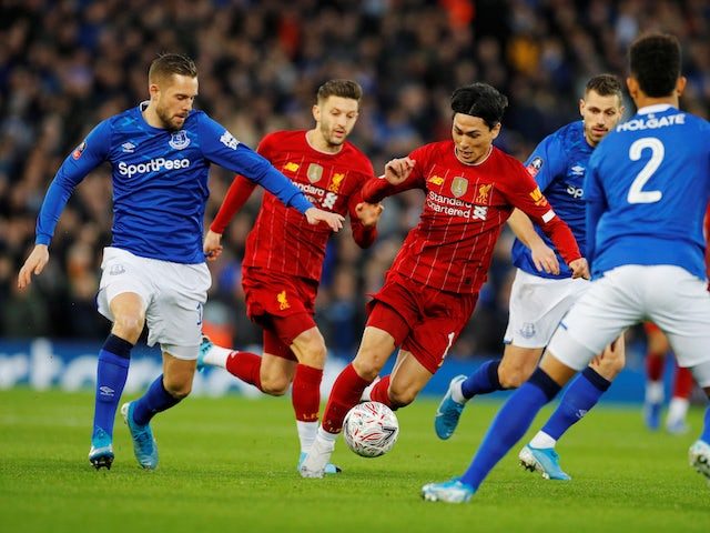 Liverpool's Takumi Minamino in action against Everton in the FA Cup on January 5, 2020