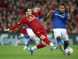 Liverpool's Pedro Chirivella in action with Everton's Theo Walcott in the FA Cup on January 5, 2020