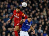 Liverpool's Joe Gomez in action with Everton's Dominic Calvert-Lewin in the FA Cup on January 5, 2020