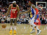 Houston Rockets guard James Harden (13) handles the ball against Philadelphia 76ers guard Josh Richardson (0) during the first quarter at Toyota Center on January 4, 2020