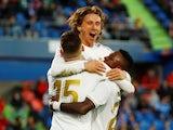 Real Madrid's Luka Modric celebrates scoring their third goal with Federico Valverde and Vinicius Junior on January 4, 2020