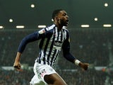 West Bromwich Albion's Semi Ajayi celebrates scoring their first goal on January 1, 2020