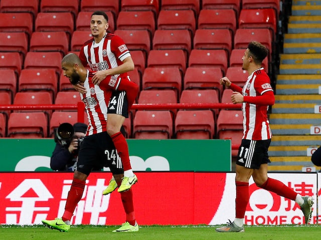 Sheffield United's Leon Clarke celebrates scoring their second goal with teammates on January 5, 2020