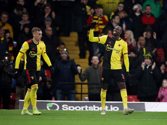 Watford's Abdoulaye Doucoure celebrates scoring their second goal on January 1, 2020