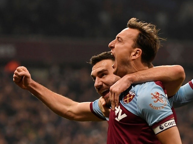 West Ham United's Mark Noble celebrates scoring their first goal on January 1, 2020