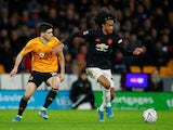 Manchester United's Tahith Chong in action with Wolverhampton Wanderers's Ruben Vinagre in the FA Cup on January 4, 2020