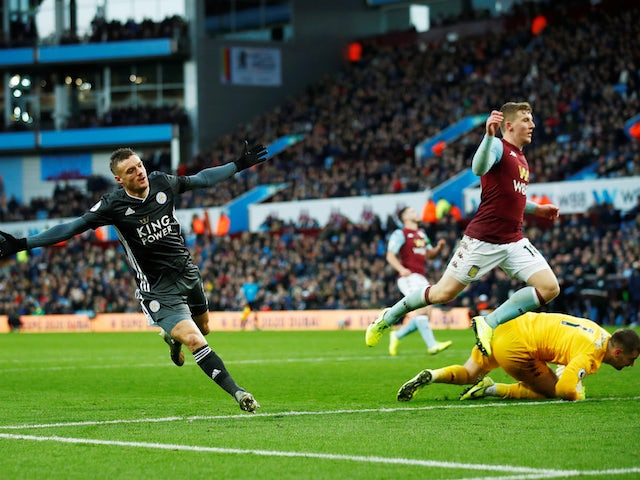 Leicester City's Jamie Vardy celebrates scoring their fourth goal in December, 2019