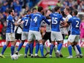 Cardiff City and Swansea City players clash during their Championship match on January 12, 2020